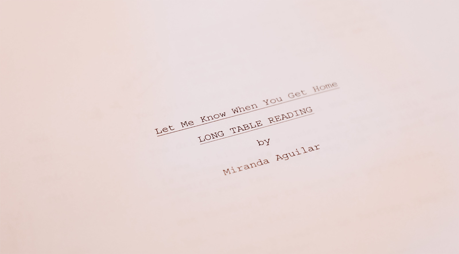 Long Table Reading Script Title Page